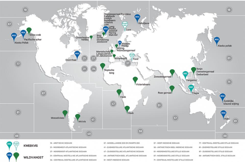 Wereldkaart vangstgebieden en kweekgebieden